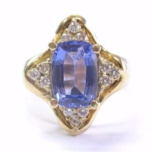 Fine Cushion Cut Gem Tanzanite & Diamond Yellow Go